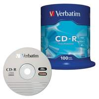 Диски CD-R VERBATIM, 700 Mb, 52х, 100 шт., Cake Box, 43411